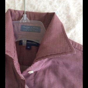 Women's Burgundy tiny check cotton Blouse.
